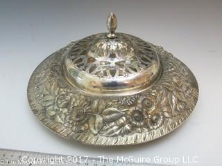 """Embossed silver-plated serving bowl with cover (9"""" diameter)"""