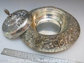 "Embossed silver-plated serving bowl with cover (9"" diameter)"
