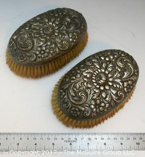 Pair of Vintage Sterling Covered Brushes