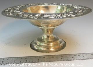 "Stamped/embossed silver-plate compote (8"" diameter; 5"" Tall)"