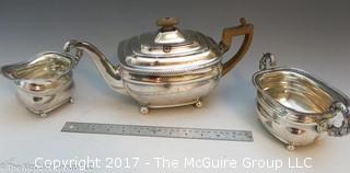 Silverplated Coffee/Tea Pot; Creamer and Sugar