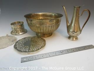 Collection of silverplated holloware including large bowl, trivets, and hallmarked tea pot
