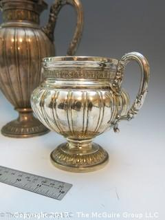 Silverplated coffee/tea pot, creamer and sugar