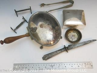 Collection of assorted silverplate including tongs, box, and knife racks