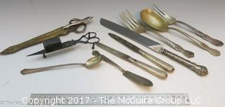 Collection including candle snuffer, German scissors, letter opener and sheath for letteropener/scissors