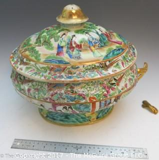 3 pieces of Rose Medallion; each broken (large covered tureen has broken handle, but piece is intact; the other two do not have pieces) REVIEW ALL THE PHOTOS