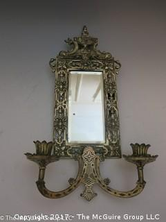 Early 20th C Brass wall mirror
