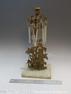 Gilt Boys with Dog Figural Girandoles on Marble Base with hanging prisms! (Note: missing one prism)