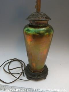 "Older 1930's? Iridescent glass table lam. SLEEPER ALERT?; 21 1/4"" Tall"