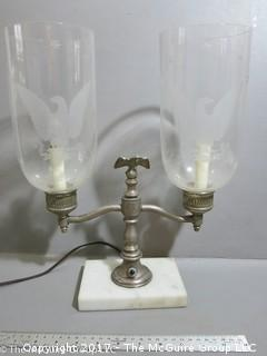 Double glass sconce table lamp on marble base