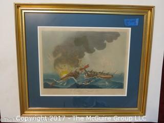 """Framed colored lithograph entitled """"Le Combat, Naval"""";(25 1/2 x 29 1/2"""")"""