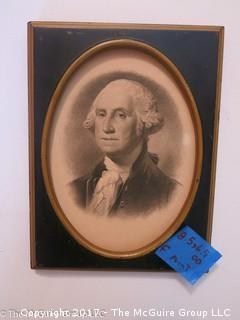 """Framed portrait of George Washington; with Congressional invite on reverse; 1932 (6 1/2 x 8 1/2"""")"""