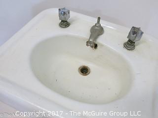 Vintage Porcelain Cast-Iron pedestal sink and hardware