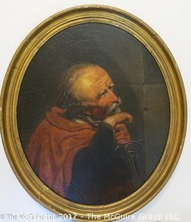 """Possibly 19th century Continental military portrait; oil on canvas; oval frame 21"""" x 25""""; thought to be French"""