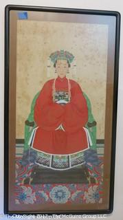Large format 50 x 27 framed representation of Chinese Nobel woman. Gouache on paper. Framed under glass, unsigned.