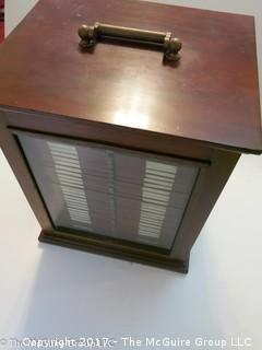 """Antique Pathologists cabinet with drawers to hold glass slides; complete with brass top handle and glass door front; 15W x 13D x 19""""T"""