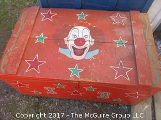 "Hand Painted Circus Trunk; on casters 16 1/2"" x 21"" 35"""