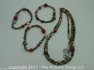 Collection of jewelry including necklace and matching bracelets -#1297