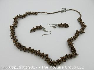 Collection of jewelry including necklace and matching earrings -#1301