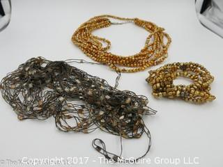 Collection of jewelry including 3 necklaces -#1302