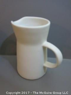Collection of pottery including Bennington pitcher