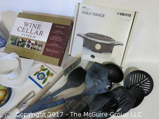 Collection including ceramic coasters, table range, cooking utensils and wine cellar system