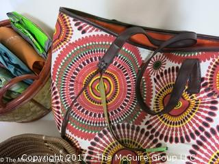 Collection of shopping bags including Neiman Marcus and Hermes box