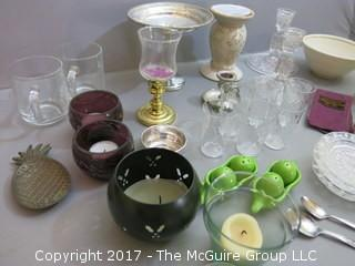 Collection including sterling compote, set of 6 sterling salts, pair of glass candlesticks and set of 6 etched glasses