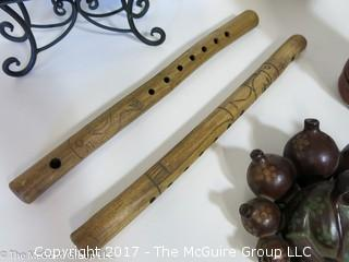 Collection including flutes, leather covered thermos and gourds