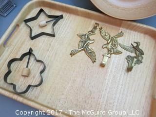 Collection including treenware, breadbaskets, Walt Disney tray, agatized wood bowl and Rosti Mepal-Melamine pitcher (Denmark)