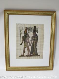 "Traditional Egyptian Print on Papyrus; framed (18 1/2 x 22 1/2"")"