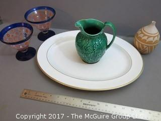 Collection including English Wedgwood of Etruria and Barlaston pitcher, Royal Doulton oval platter and pair of glass stems