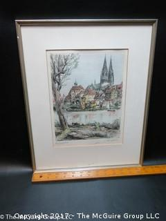 Original colored framed print of German cityscape; double signed