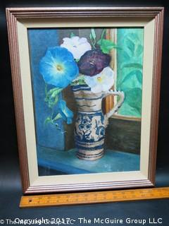 Floral still life framed painting, signed lower right