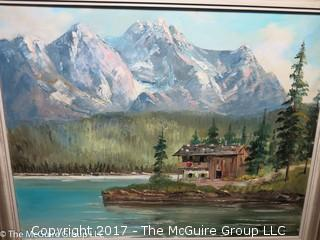 Framed Oil on Canvas; Alpine scene; signed lower right