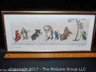 Framed French original colored print; titled and signed