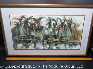 "Framed ""Palms"", original oil on canvas, signed lower right"