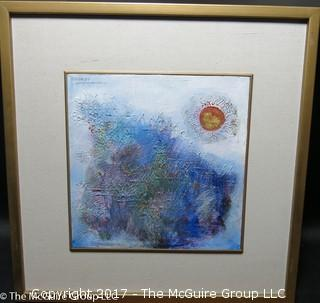 Framed abstract; oil; signed upper left