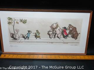 Framed French original print; pencil titled and signed