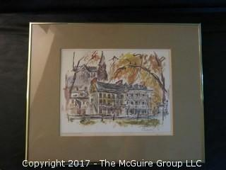 """Set of 4 signed and framed prints of Fanueil Hall, Independence Hall, The Capitol - Williamsburg, and High Street, Harpers Ferry, WV (each 14 x 17"""")"""