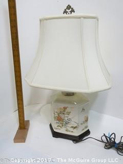 Ceramic table lamp with Asian motif; includes shade