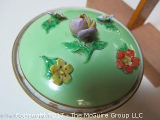 Dresden tri-footed covered bowl with floral decoration