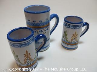 Collection including vintage USA marked pitcher, Western Germany beer stein and faience painted cups