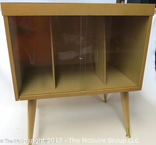 Mid-Century Album stand with glass front sliding doors