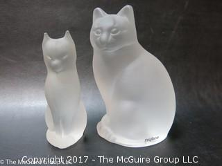 (2) frosted Swedish crystal felines