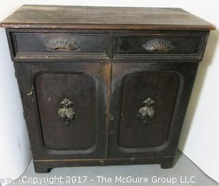 """Late 19th c chest; 1 drawer over 2 doors; 40""""W x 42T x 19""""D"""