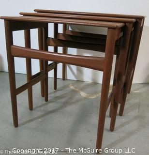 "3 Teak Nesting Tables designed by master Danish furniture designer Hans. Wegner and produced by Andreas Tuck (largest is 20 1/2""W x 19T x 15""D) (Description altered 11-6-17 at 13:41ET)"