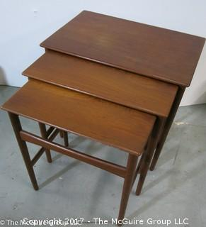 """3 Teak Nesting Tables designed by master Danish furniture designer Hans. Wegner and produced by Andreas Tuck (largest is 20 1/2""""W x 19T x 15""""D) (Description altered 11-6-17 at 13:41ET)"""
