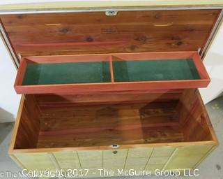 M-C Virginia Maid LANE cedar chest with lower drawer;  39W x 21T x 18D