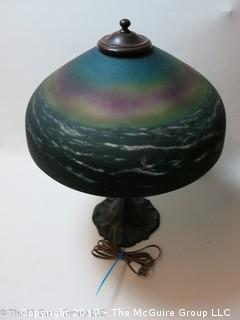 "Circa 1920's Art Nouveau reverse painted glass Lamp; made by the Pittsburgh Lamp, Brass & Glass Co.,  vibrant colors; 16"" diameter shade and metal base"
